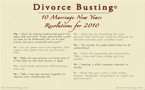 10 New Year S Resolutions by 10 Marriage New Years Resolutions For 2010 Divorce Busting
