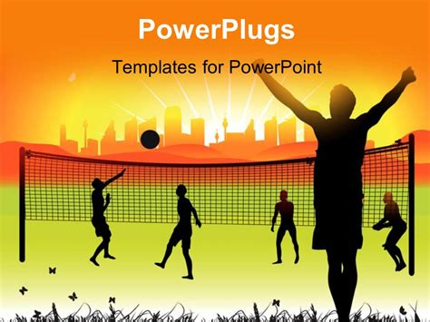 powerpoint templates for youth powerpoint template youth playing volleyball in ground on