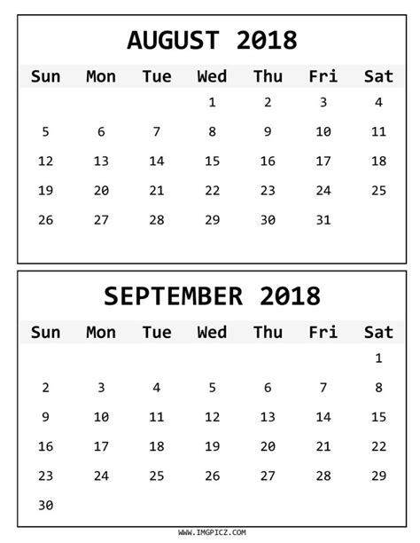 printable calendar september 2017 to august 2018 august and september 2018 calendar printable