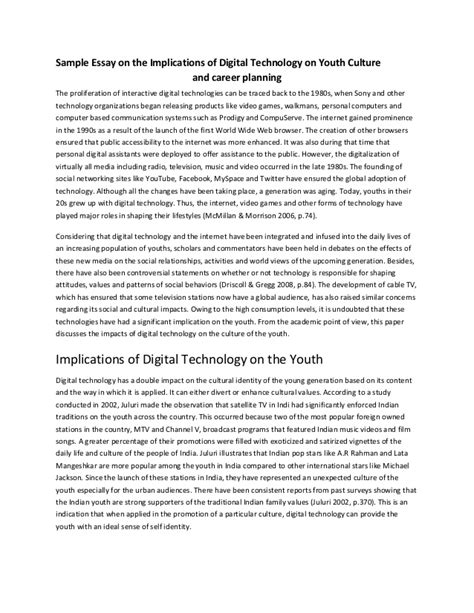 Titles For Essays About Technology by Sle Essay On The Implications Of Digital Technology On Youth Cultu
