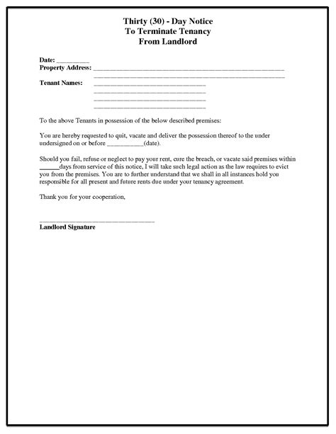 30 day notice to landlord letter template 60 day notice letter to tenant from landlord ideas