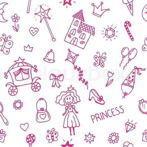 pattern princess vector hand drawn seamless pattern with princess girl doodle
