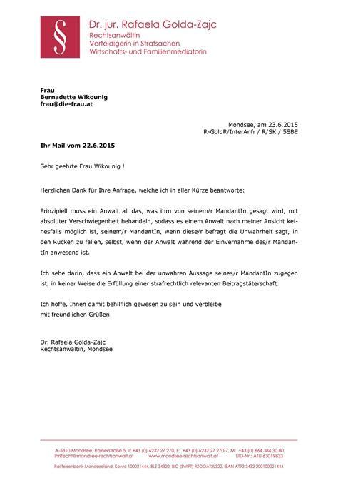 Mit Freundlichen Grüßen In Einem Brief Vors 228 Tzlich Falsche Parteienaussage Vor Gericht Und Der Anwalt Die Frau De