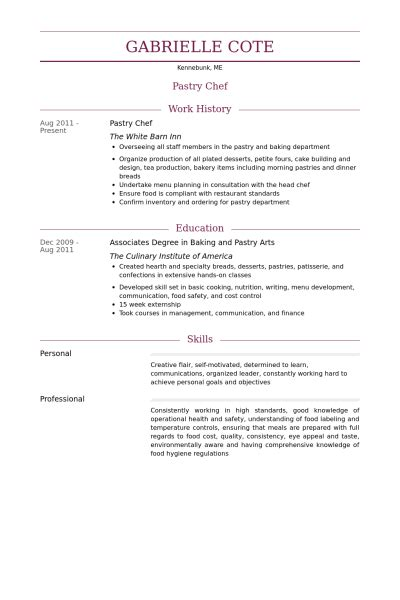 Assistant Pastry Chef Resume Samples Jobhero