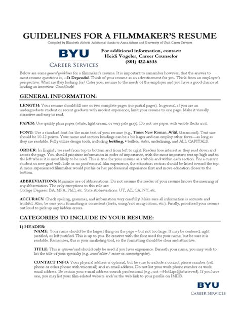 Guidelines For Resume by Guidelines For A Filmmaker S Resume Free