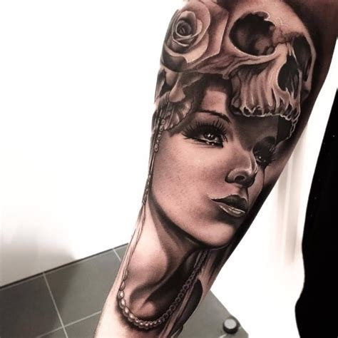 skull face tattoo arm awesome skull with roses design by