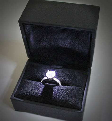 engagement ring box with light items similar to high quality lighted ring box black