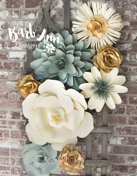 How To Make Paper Wall Flowers - eucalyptus gold large paper flower wall backdrop