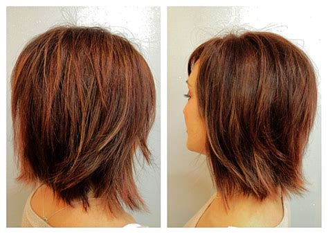 layered neck length bob hairstyles before after mocha brown with copper and peek a boo
