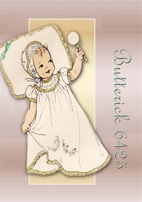 sewing pattern 1950s butterick 6425 vintage baby dress entire