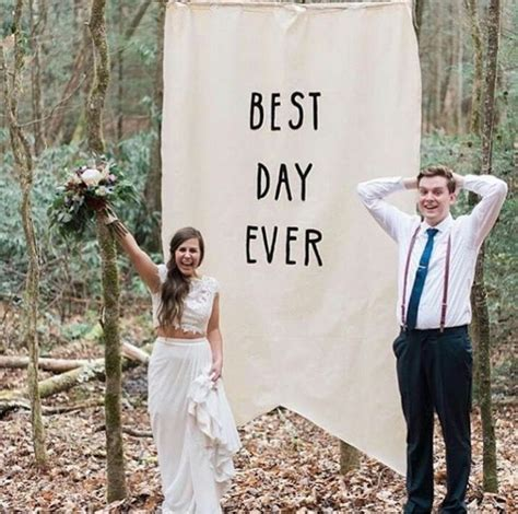 "Large pennant banner sign ""best day ever"" wedding backdrop"