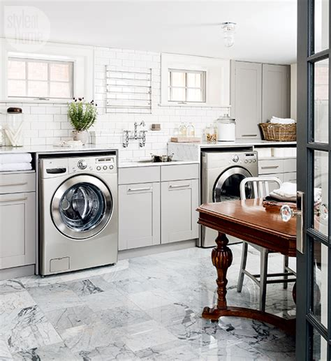 Gray Laundry Room With Stainless Steel Pull Down Drying Gray Laundry