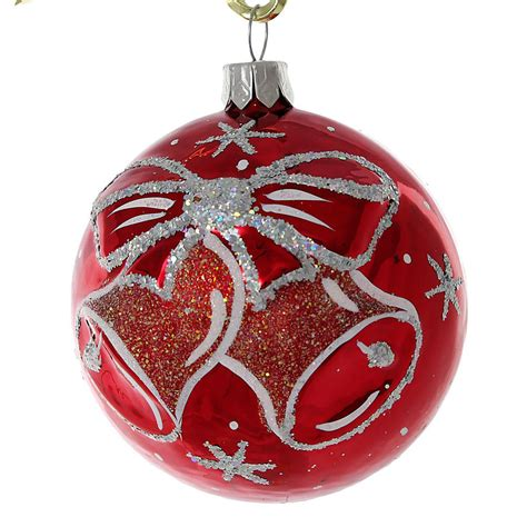 christmas glass quot jingle bells quot glass christmas ball ornament red ebay