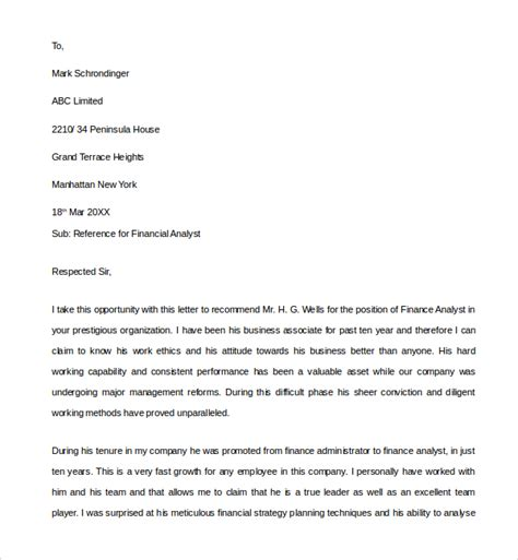 Finance Letter Templates sle financial reference letter template 6 free