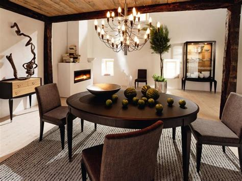 eclectic dining room  brown fabric chairs hgtv