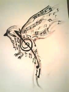 bird made up of music notes tattoo design tattooshunt com