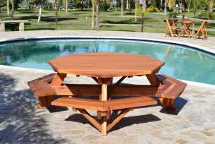 outdoor table with bench outdoor octagon wooden picnic table with benches beside pool with stone floor tiles ideas