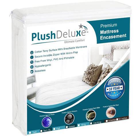 plushdeluxe premium  waterproof mattress encasement hypoallergenic vinyl  breathable