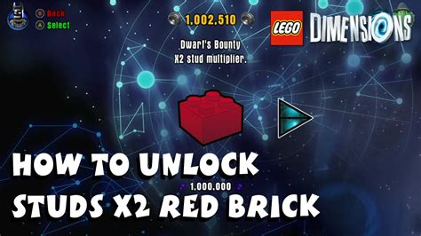 Lego Dimensions - How to Unlock Studs X2 Red Brick - YouTube Lego Dimensions Cheat Codes Ps4