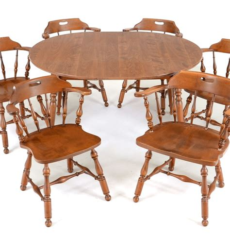 Maple Dining Table And Chairs Early American Style Maple Dining Table And Six Chairs Ebth