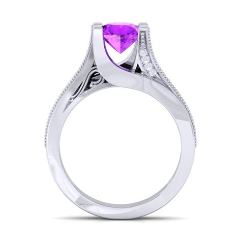 purple amethyst fg si gemstone diamonds engagement ring