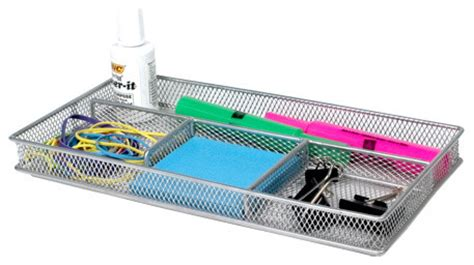 Silver Mesh Desk Accessories Silver Mesh Desk Organizer By Design Ideas Modern Desk Accessories By Organize