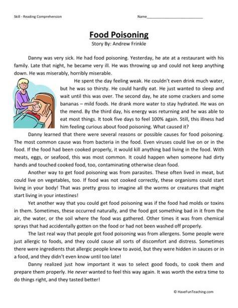 reading comprehension test for 5th grade reading comprehension worksheet food poisoning