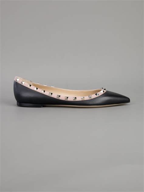valentino flat studded shoes valentino studded flat shoe in black lyst