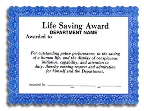 life saving award certificate