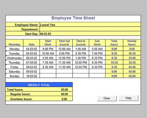 monthly editable excel timesheet with automatic calculation of total hours and overtime hours based on different time rates png