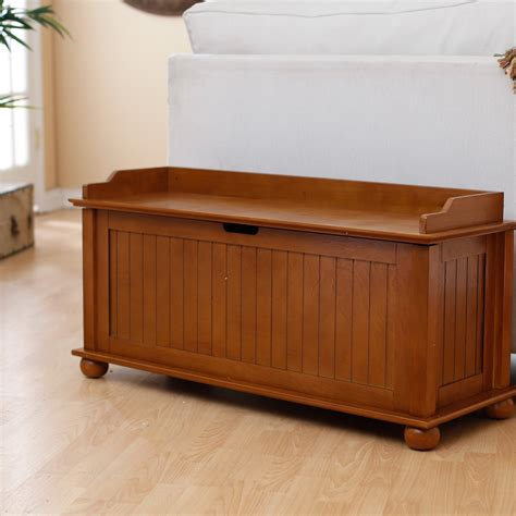 Indoor Storage Bench Belham Living Traditional Flip Top Indoor Storage Bench Pecan At Hayneedle