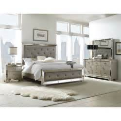 Overstock Bedroom Sets Celine 5 Piece Mirrored And Upholstered Tufted Queen Size
