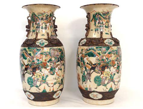 asian vases pair porcelain vases nanjing horses asian