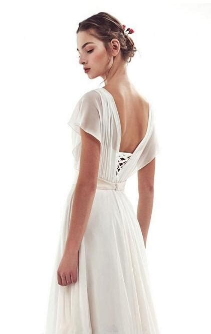 lace  simple short sleeves   vintage wedding dress