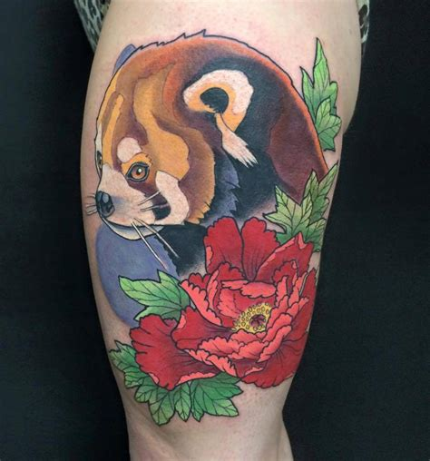 panda tattoo on thigh new school style red panda tattoo on the left thigh