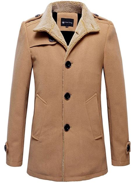 button tab cuffs epaulet design plush lined coat in khaki