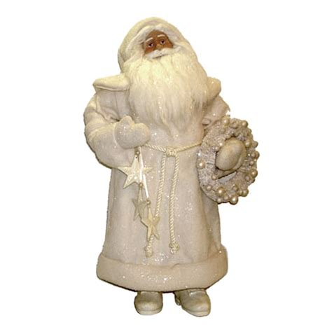 new st nicholas square 20 inch large white santa figurine