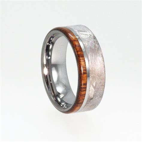 Handmade Mens Wedding Band - handmade meteorite ring mens tungsten meteorite wedding