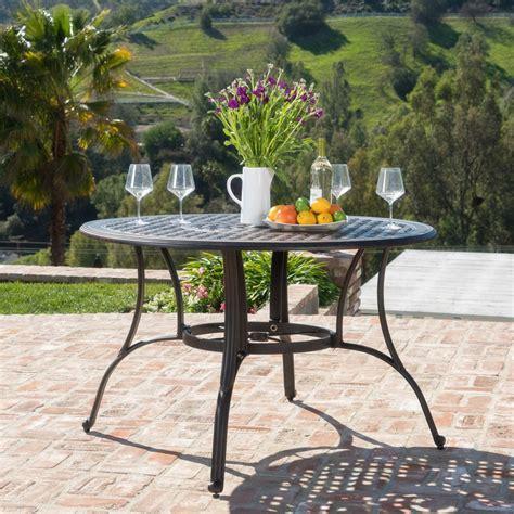 backyard bronze casting fonzo outdoor bronze cast aluminum circular dining table