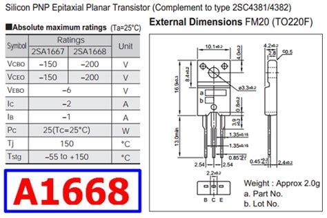 a1668 transistor equivalent a1668 datasheet vcbo 200v pnp transistor 2sa1668 sanken