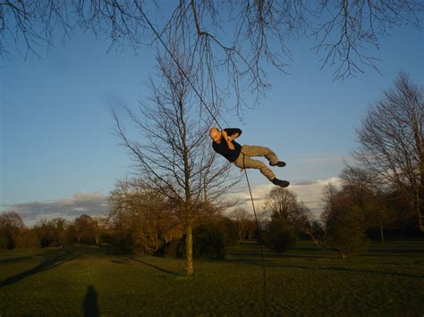 swinging on rope rope swing bristol united kingdom uk