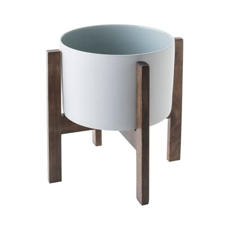 planter with stand white pot planter with wooden stand loads of living