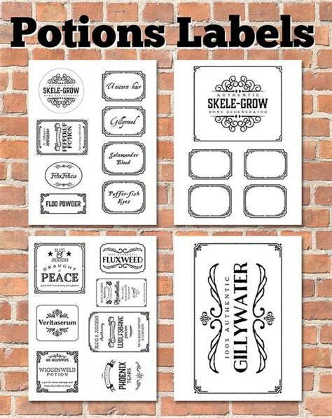 printable potion labels potion labels printable labels and etsy on pinterest