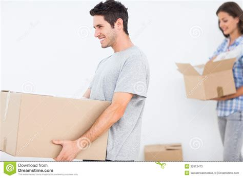 for hubby and husband moving in a new house stock photos