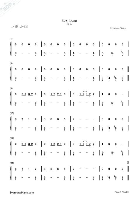 charlie puth how long chord how long charlie puth numbered musical notation preview 1