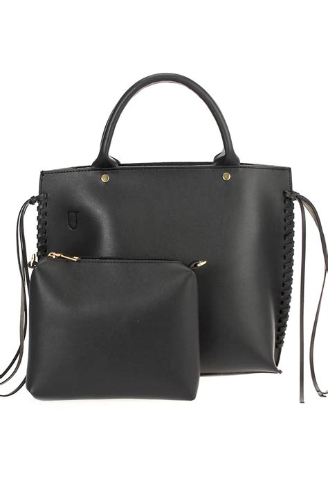 two in one side twisted edge tote bag with pouch agp handbags apparel