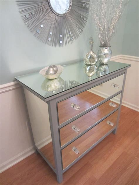 Diy Mirrored Dresser Drawers by Mirrored Dresser Silver Upcycled 3 Drawer Mirror Dresser