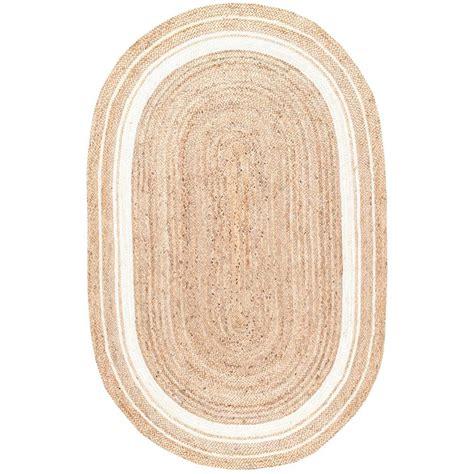 Oval Sisal Rug by Nuloom Braided Rikki Border Jute Bleached 5 Ft X 8 Ft