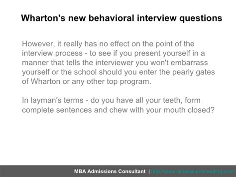 Mba Behavioral Interviews by The Row About Whartons New Behavioral Questions