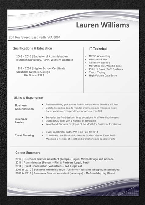 free professional resume template australia resume templates professional resume and cv